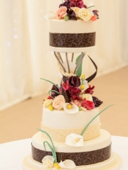 £1100 Beautiful Chocolate Flowers Wedding Cake