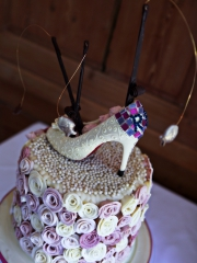 £595 Shoes and Fishing Rods Chocolaet Weddign Cake 2