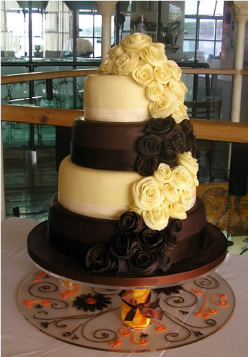 £825 4 tier Stacked Roses Chocolate Wedding cake