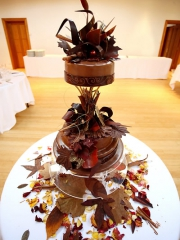£595 3 tier Autumn Leaves chocolate wedding cake 3