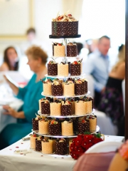 £8-25 each Individual Chocolate Wedding Cakes with Pink hearts