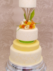 £950 5 tier Spring themed Chocolate Wedding cake