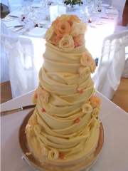 £795 4 tier Chocolate Swags Wedding Cake