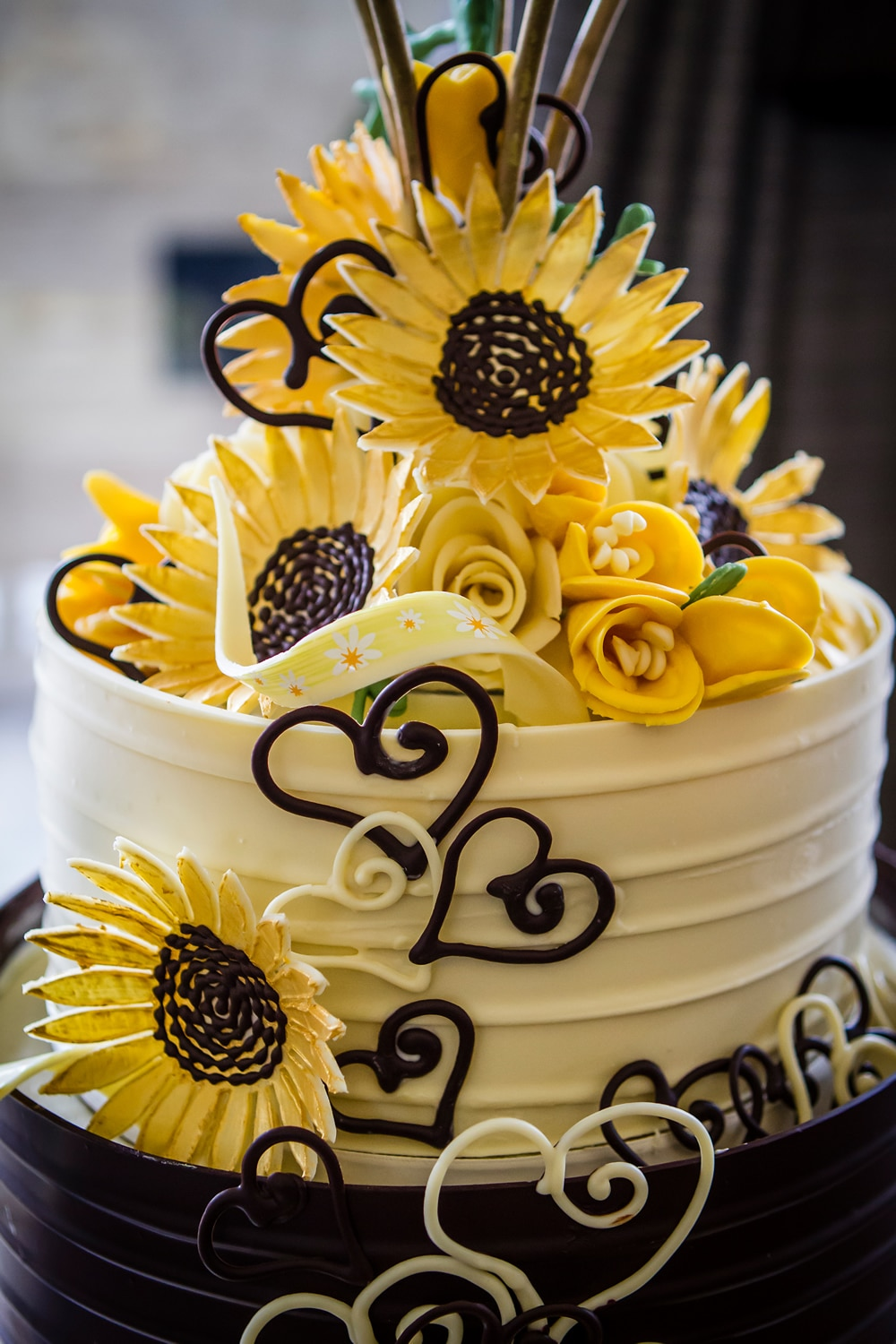 Chocolate Sunflower Wedding Cake London Lick The Spoon